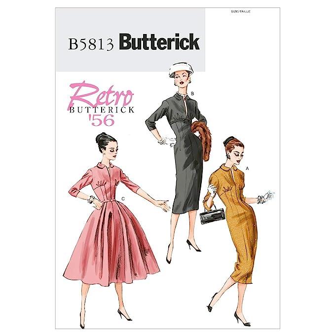 1950s Sewing Patterns | Dresses, Skirts, Tops, Mens BUTTERICK PATTERNS B5813 Misses Dress Size A5 (6-8-10-12-14)  AT vintagedancer.com