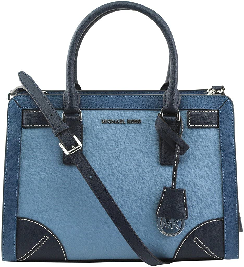 ede6cbcf14da Michael Kors Corner Frame Dillon Top Zip East West Satchel Pale Blue Steel  Blue Navy  Handbags  Amazon.com