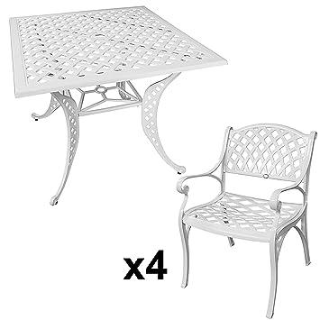 Lazy Susan - Table carrée 91 cm LUCY et 4 chaises de jardin - Salon de  jardin en aluminium moulé, Blanc (chaises KATE)