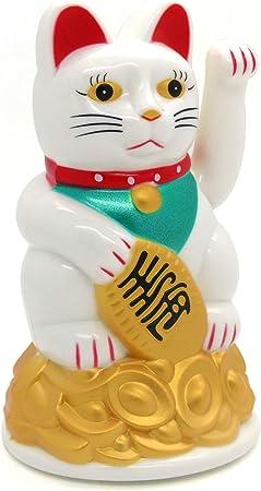 WEIß 15 cm Glückskatze ~ Winkekatze Maneki Neko