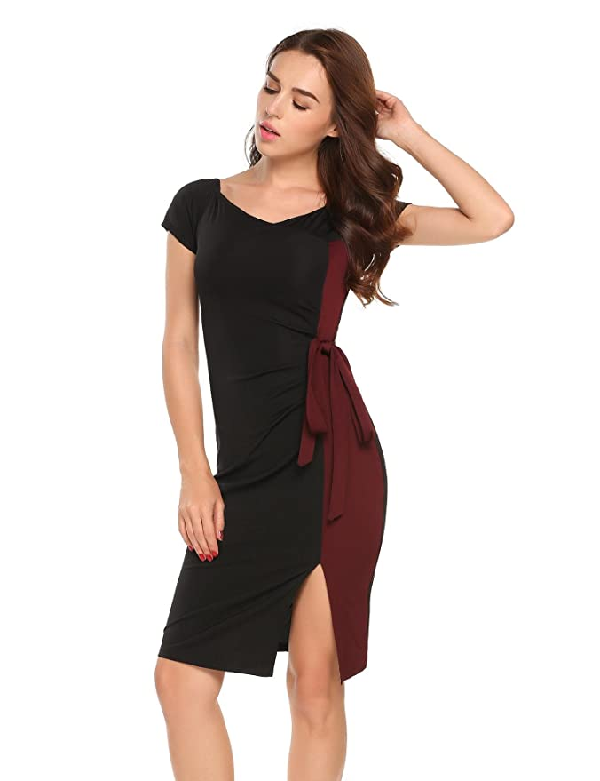 e8a811ea0f452 AL'OFA S Women Off-Shoulder Short Sleeve Patchwork Pencil Dress Mini  Package Hip Party Bodycon Dress