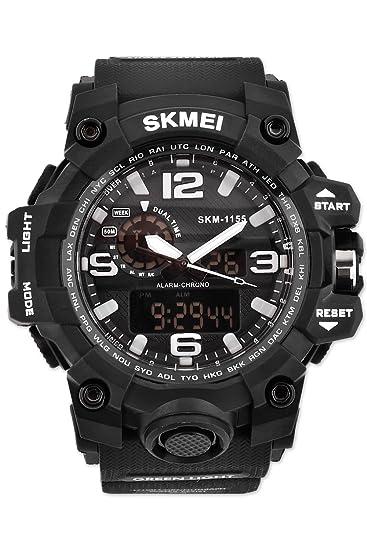 DSstyles Reloj Hombre 50M Impermeable Digital Reloj de pulsera resistente a los choques Deporte Reloj Analógico Cronógrafo con Big Dial Dual - Negro: ...