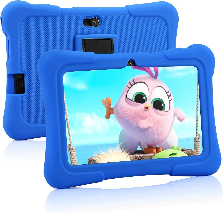 Pritom Tablet para niños de 7 pulgadas   Quad Core Android, 1GB RAM + 16GB ROM   WiFi   Educación, juegos, control parental, software para niños preinstalado con estuche para tableta para niños (azul)