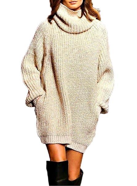Otoño Invierno Mujer Prendas de Punto Vestido de Suéter Tops Manga Larga Túnicas de Cuello Alto Jerséis Largas Sweater Jersey Moda Pulóver Corto Vestidos de ...