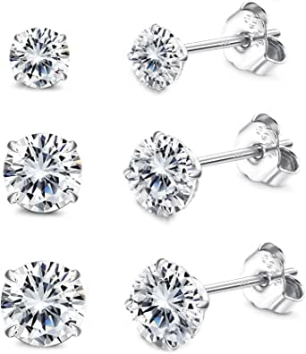Sllaiss 3Pairs 925 Sterling Silver Stud Earrings Set 4-6mm Swarovski Cubic Zirconia Ear Studs for Women Men with Butterfly Push Backs for Birthday Anniversary