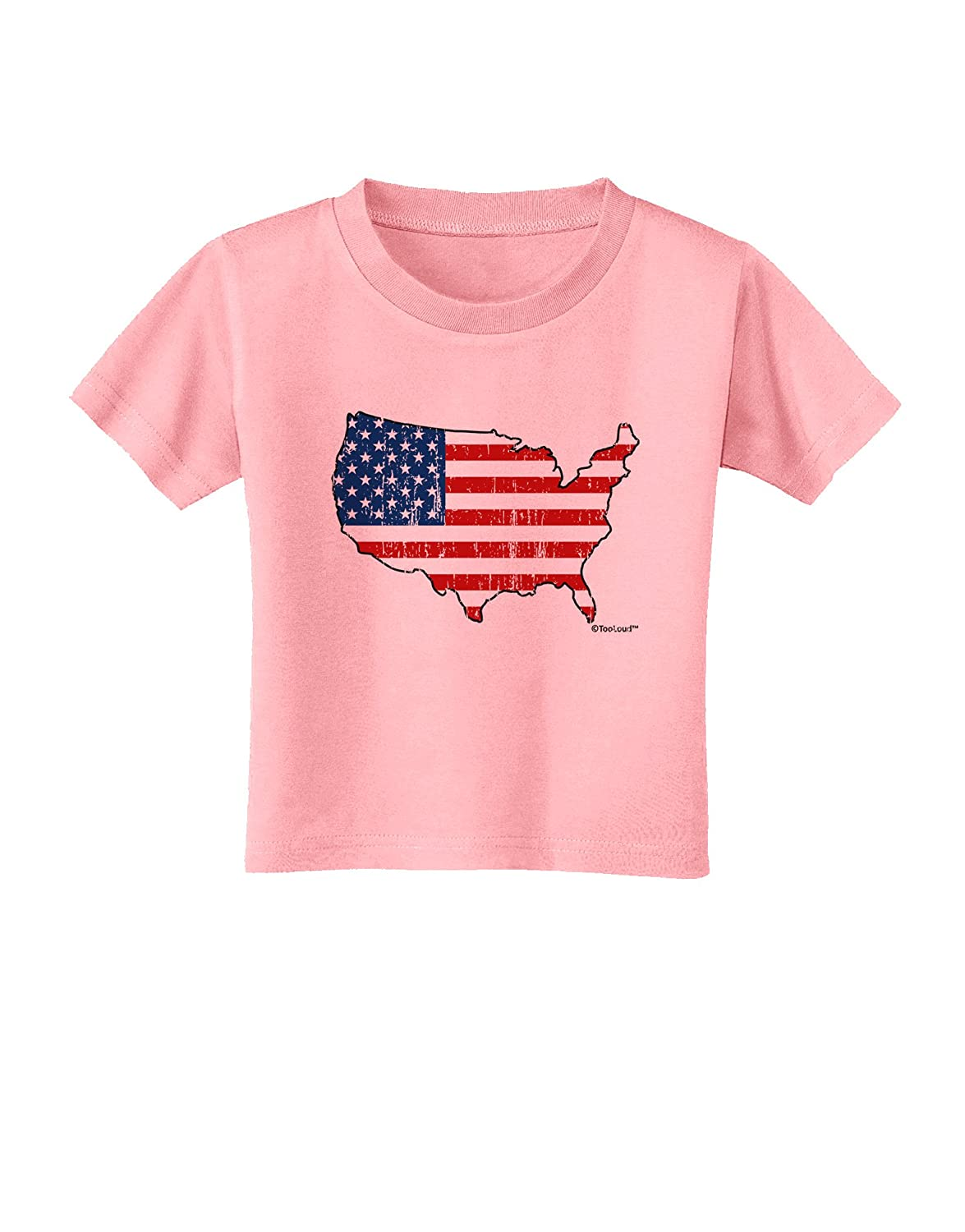 TooLoud United States Cutout American Flag Distressed Toddler T-Shirt
