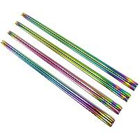 Honbay 4 Pairs Stainless Steel Reusable Rainbow Square Chopsticks for Dinner