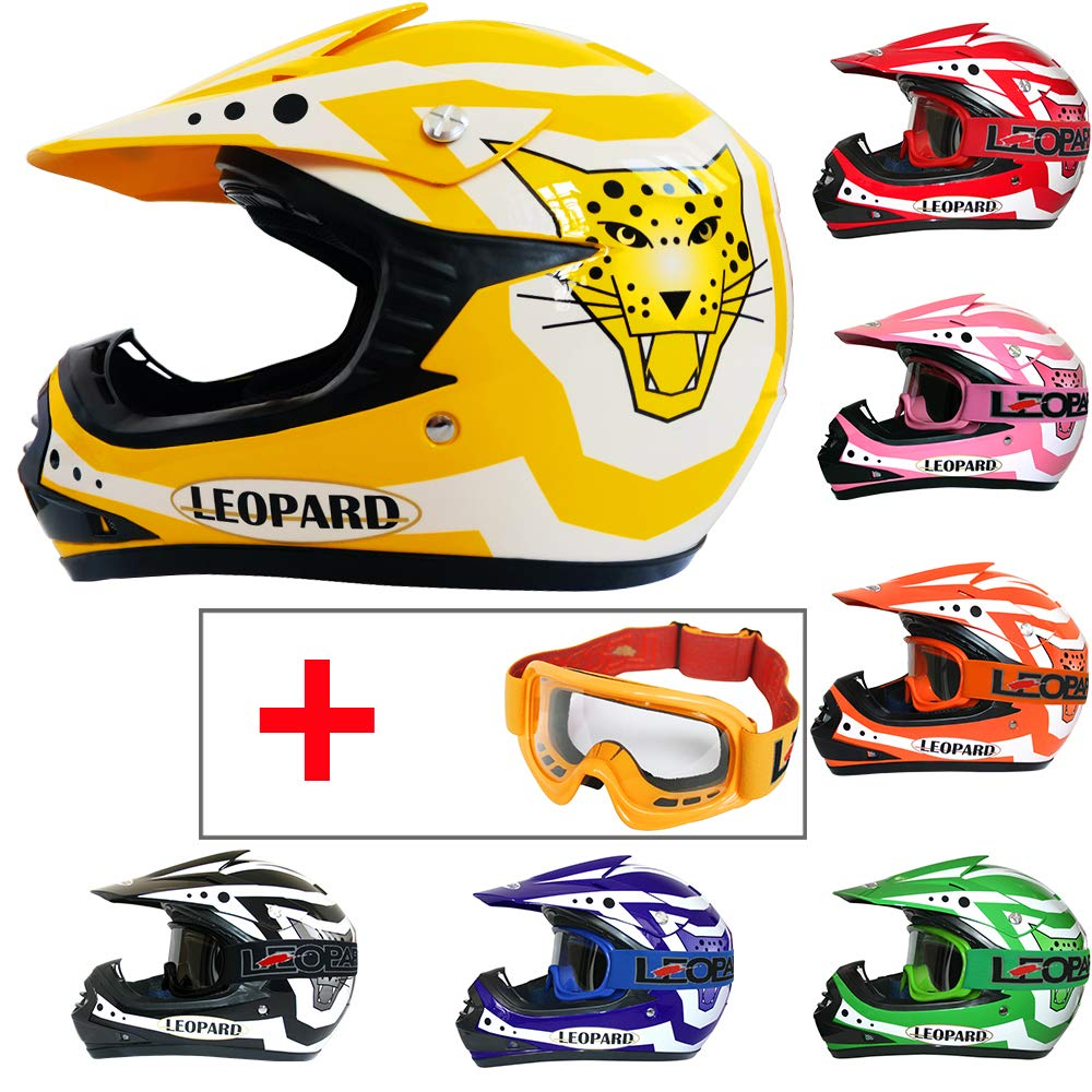 Orange L 53-54cm Leopard LEO-X16 Kids Motocross Helmet Children Quad Bike Crash Motorbike ATV Helmet