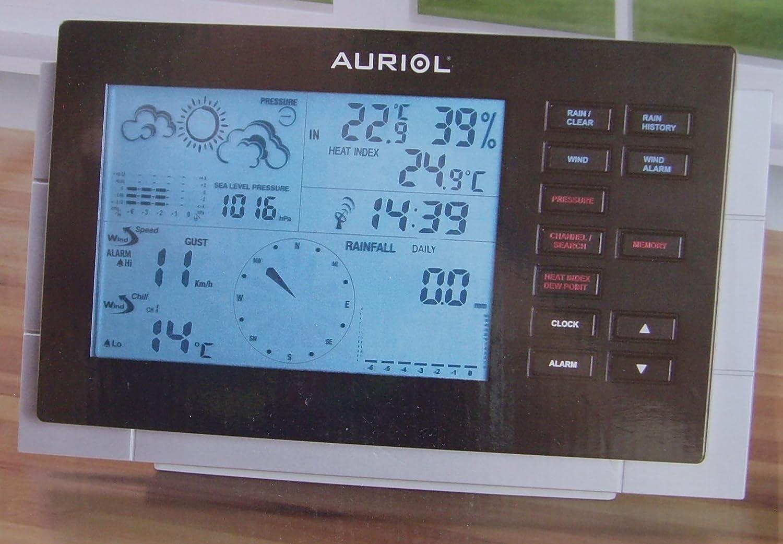 Auriol estación meteorológica por radio control reloj viento y la lluvia medida 3 piezas Pantalla LCD: Amazon.es: Jardín