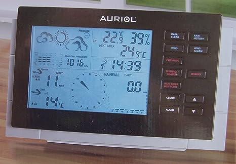 Auriol estación meteorológica por radio control reloj viento ...