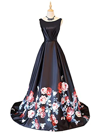 Vanial A Line Long Floral Print Formal/Prom Dresses 2017 [6 Days to Arrive
