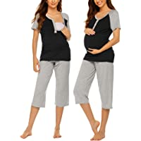 25440d905bfc3 Ekouaer Womens Maternity Nursing Pajamas Shorts Set Stripe Ultra Soft  Pregnancy Breastfeeding Sleepwear (S-
