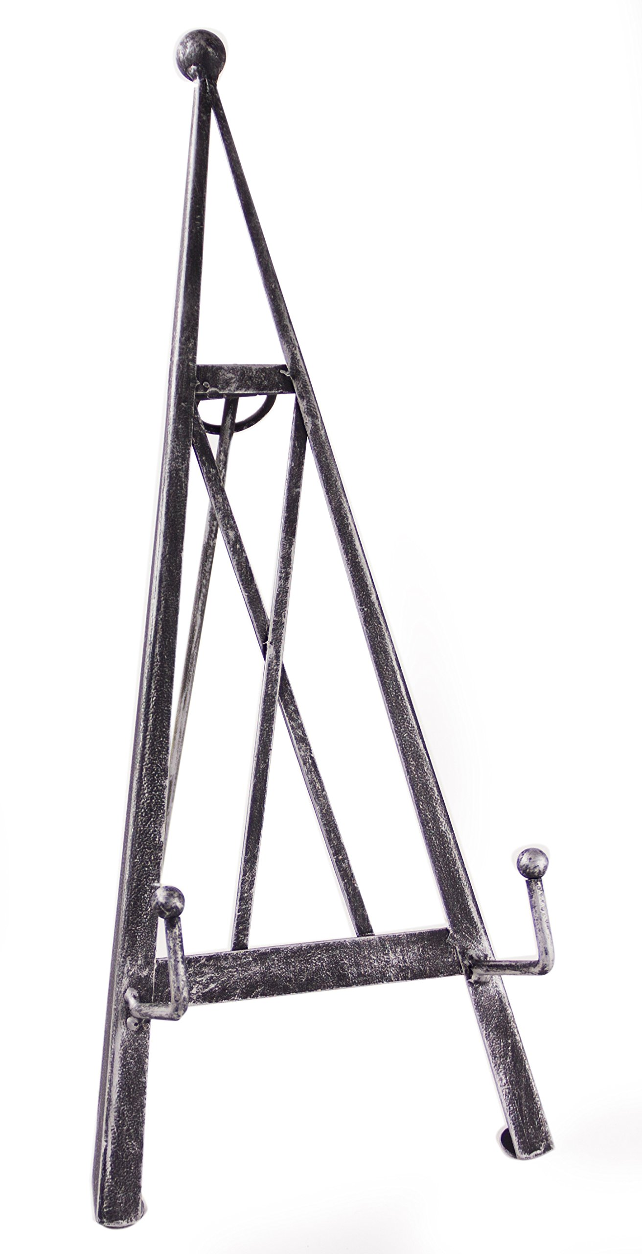 Industrial Style Decorative Plate Stand and Art Holder Easel in Brushed Silver Finish - 15''H