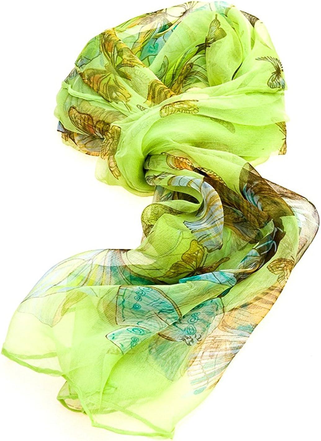 Test/é Femmes Multi Function 100/% Pure Silk Scarf /Écharpe Motif Papillon//COL de lAutorit/é Par qui