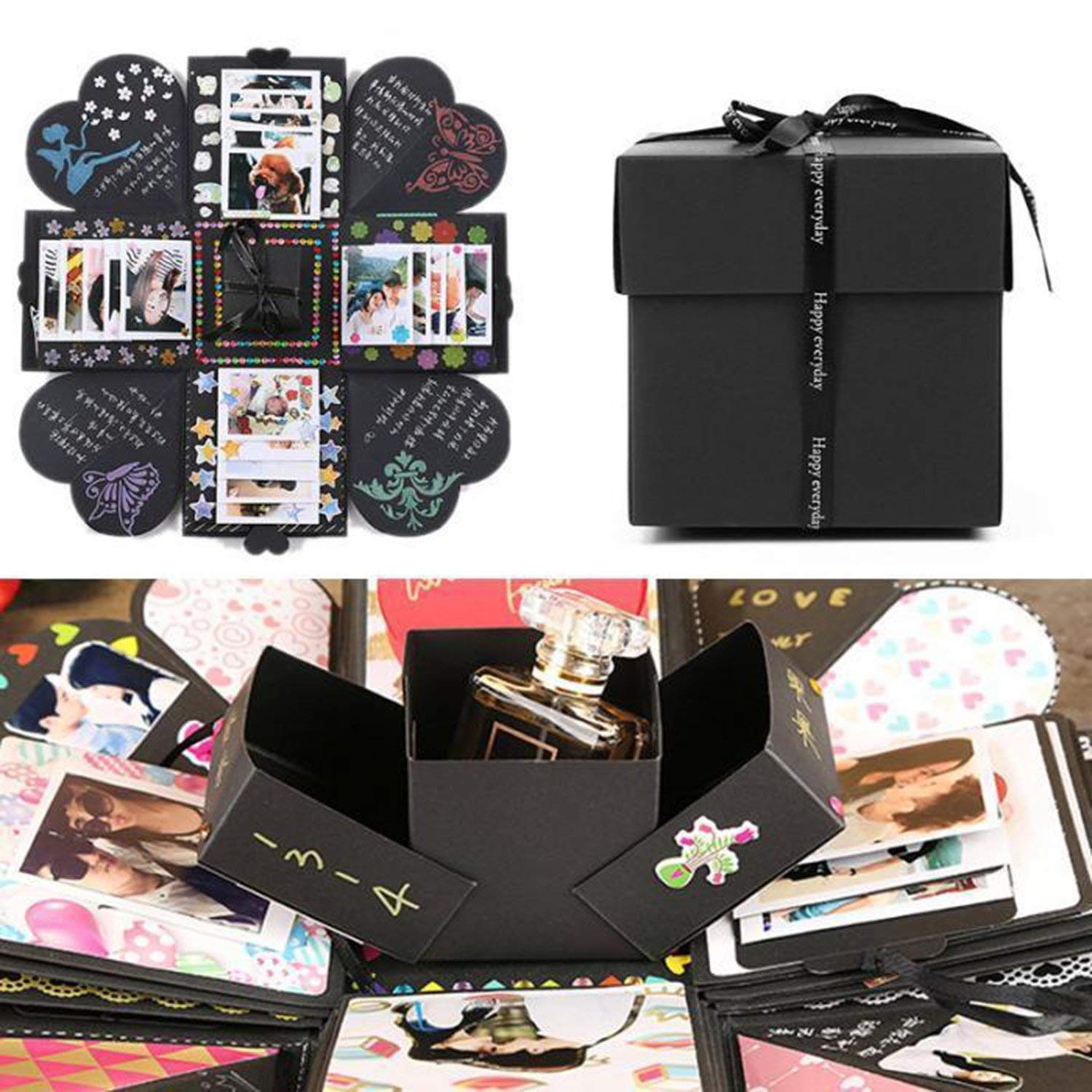 EKKONG Creative Explosion Gift Box, DIY Handmade Photo Album Scrapbooking Gift Box for Birthday Party,Valentine's Day & Wedding (Black)