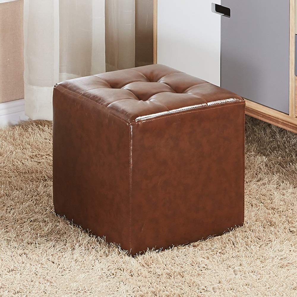 Brown Square LifeX Fashion European Style Home Living Room Round Square Sofa Stool Coffee Table Stool Household Waterproof Leather shoes Bench Shop Dressing Stool Office Adult Small Bench