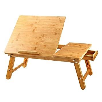 NNEWVANTE Mesa de Ordenador Portátil Bandeja de Cama para el Desayuno Bambú Plegable Escritorio Ajustable para Sofá o Piso Mesa para Niños y Estudiantes ...
