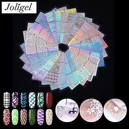 Joligel 144 Plantillas Moldes Uñas Pegatinas Estampación 72 Diseños Esténciles Adhesivos Decoración Uñas Manicura Pedicura Nail