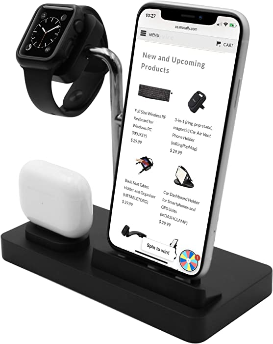 Macally Airpod iPhone and Watch Charging Station - Cable Management for Your Nightstand or Desk - Compatible with All iPhone iWatch & Airpod Series Using OEM Cables - 3 in 1 iPhone Charging Station