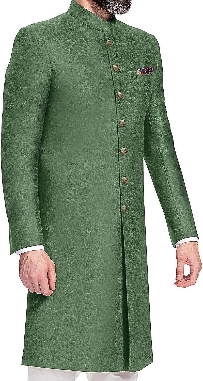 DaFacioun Indian Designer Partywear Traditional Ethnic Mens Achkan. Green