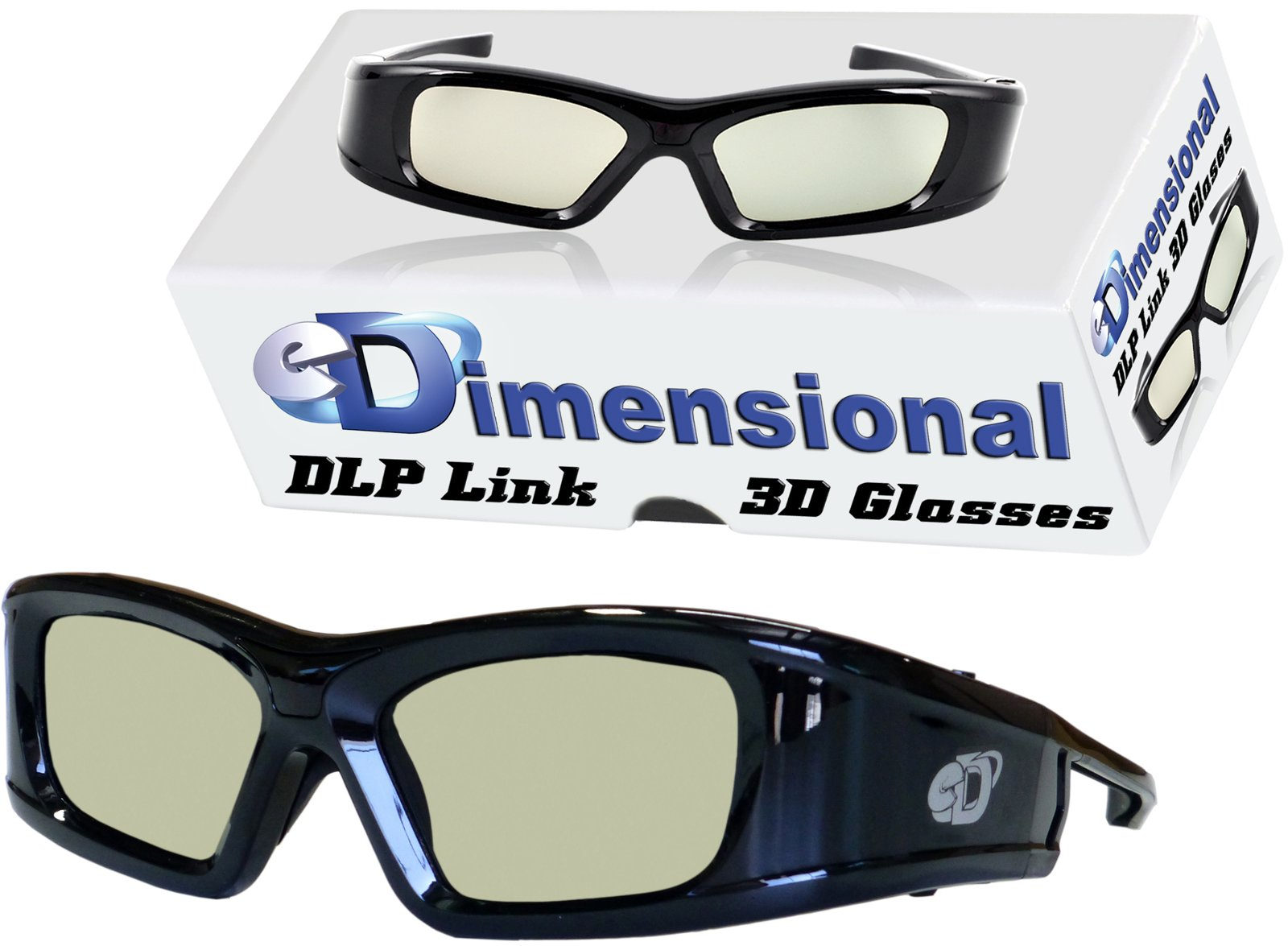 Adult DLP LINK eD Elite 144 Hz 3D Glasses (eDimensional Active Rechargeable) for All 3D DLP Projectors - BenQ, Optoma, ViewSonic & Endless Others! by eDimensional
