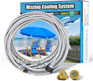 Patio Misters for Cooling - Outdoor Water Misting System, 33FT Misting Fan Line, Garden Hose Mister for Greenhouse Backyard Trampoline with Upgraded 10 Copper Metal Mist Nozzles
