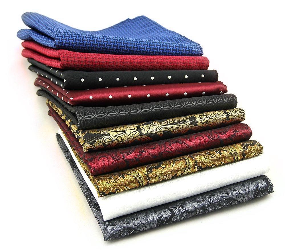 AVANTMEN 10 PCS Men's Pocket Squares Assorted Woven Handkerchief Hanky (12 x 12, S9)