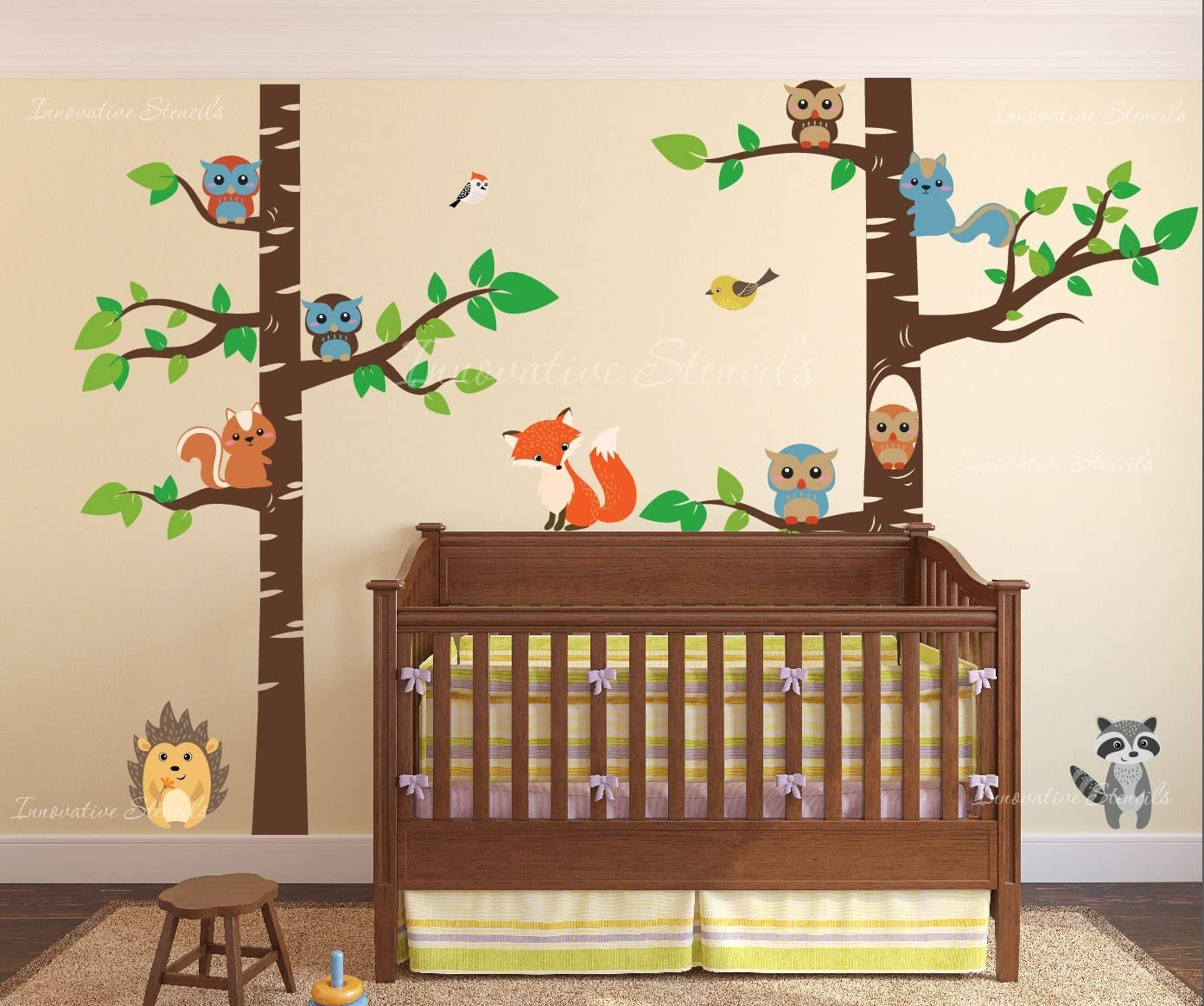 "Innovative Stencils Birch Tree Wall Decal Forest with Owl Birds Squirrels Fox Porcupine Racoon Vinyl Sticker Woodland Children Decor Removable #1327 (108"" (9ft) Tall, Brown Trees)"
