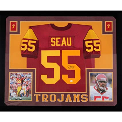 newest cfcb7 9c6be Junior Seau USC Autographed Red Signed Football Framed ...