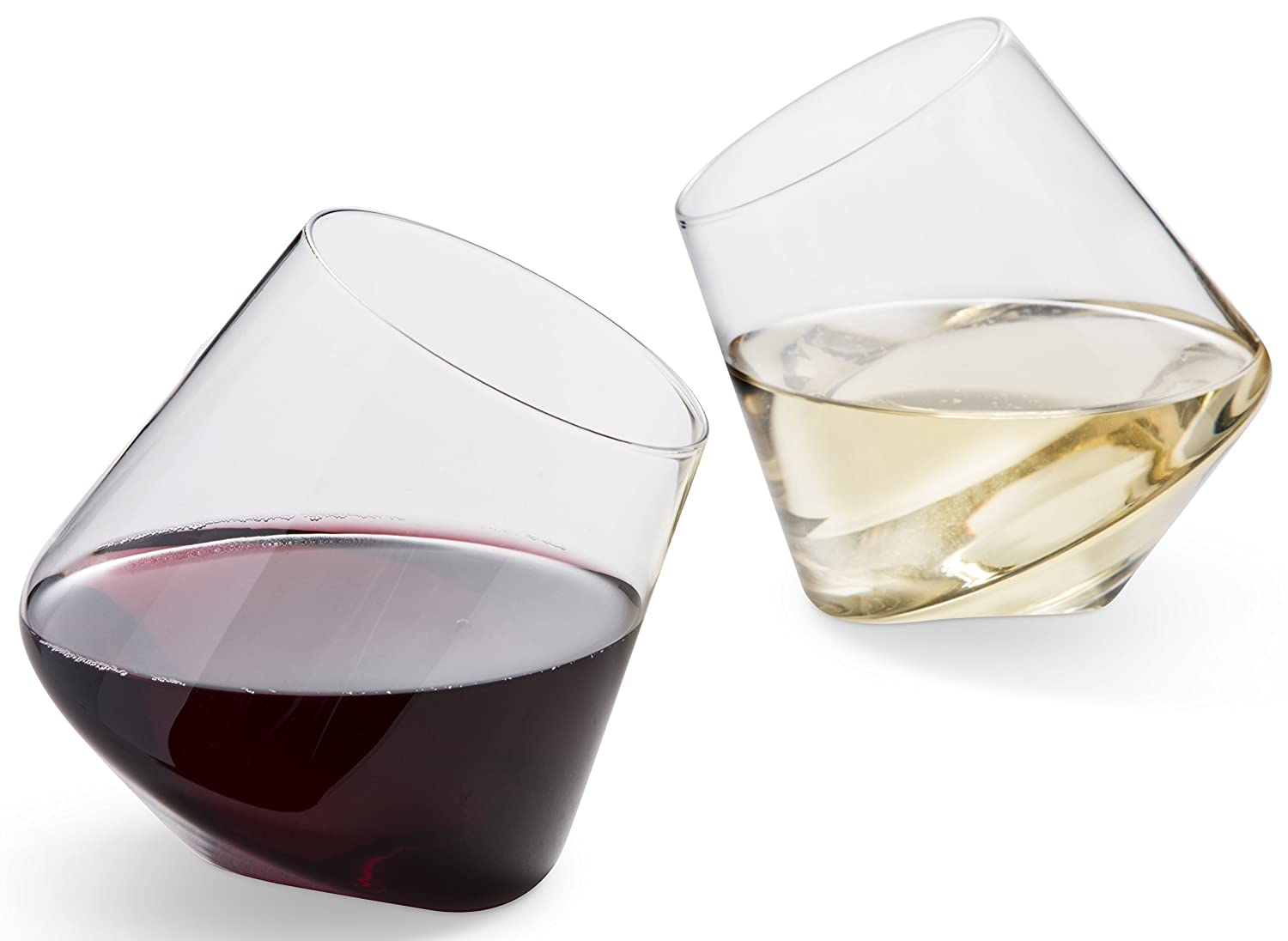 Hand Blown Stemless Wine Glasses, Set of 2 – Naturally Aerating, Elegant Wine Glassware for Cabernet, Pinot Noir, Merlot, and Blends – CulinexCo.com Spinning Wine Tumblers for Him and Her, 12 Oz.