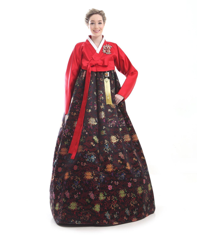 Handgemachter 100% Seide Kleid Hanbok Korea Lang Tracht Rot Braun Design Umbund Party Dress Kleid Elegant Fashion Mode Neu
