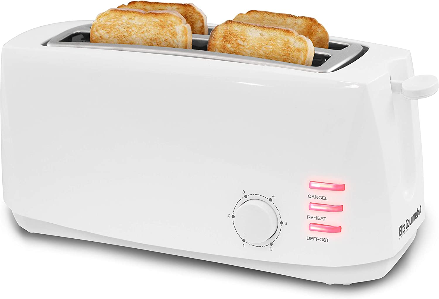 Elite Gourmet ECT-4829 Maxi-Matic 4 Slice Long Toaster 6 Toast Settings, Defrost, Reheat, Cancel Functions, Extra Wide 1.5