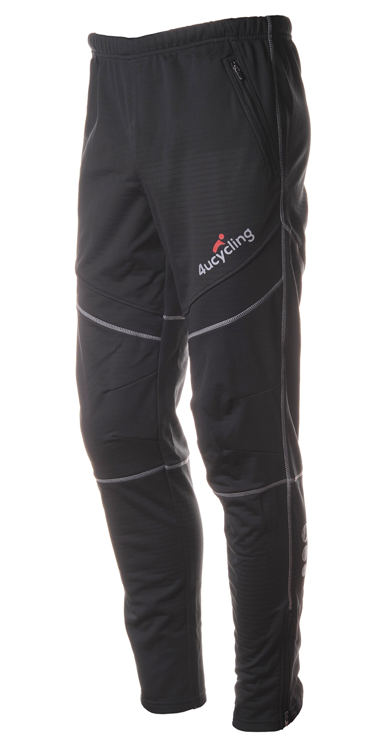 4ucycling Men's Bike Pants Fleeced for Cold Weather, Black, S
