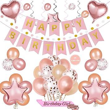 PHOGARY Decoracione para Fiestas de Cumpleaño Kit de Oro Rosa para Cumpleaños Niña - Bandera Happy Birthday y Globos: Amazon.es: Juguetes y juegos