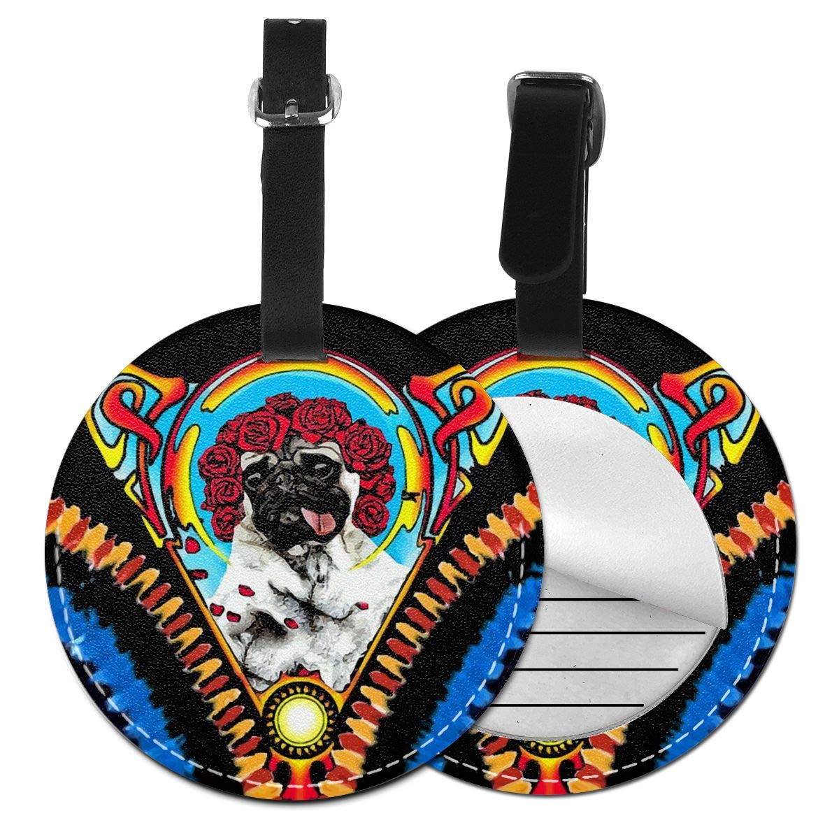 Free-2 Rose Greatful Pugs Luggage Tag 3D Print Leather Travel Bag ID Card