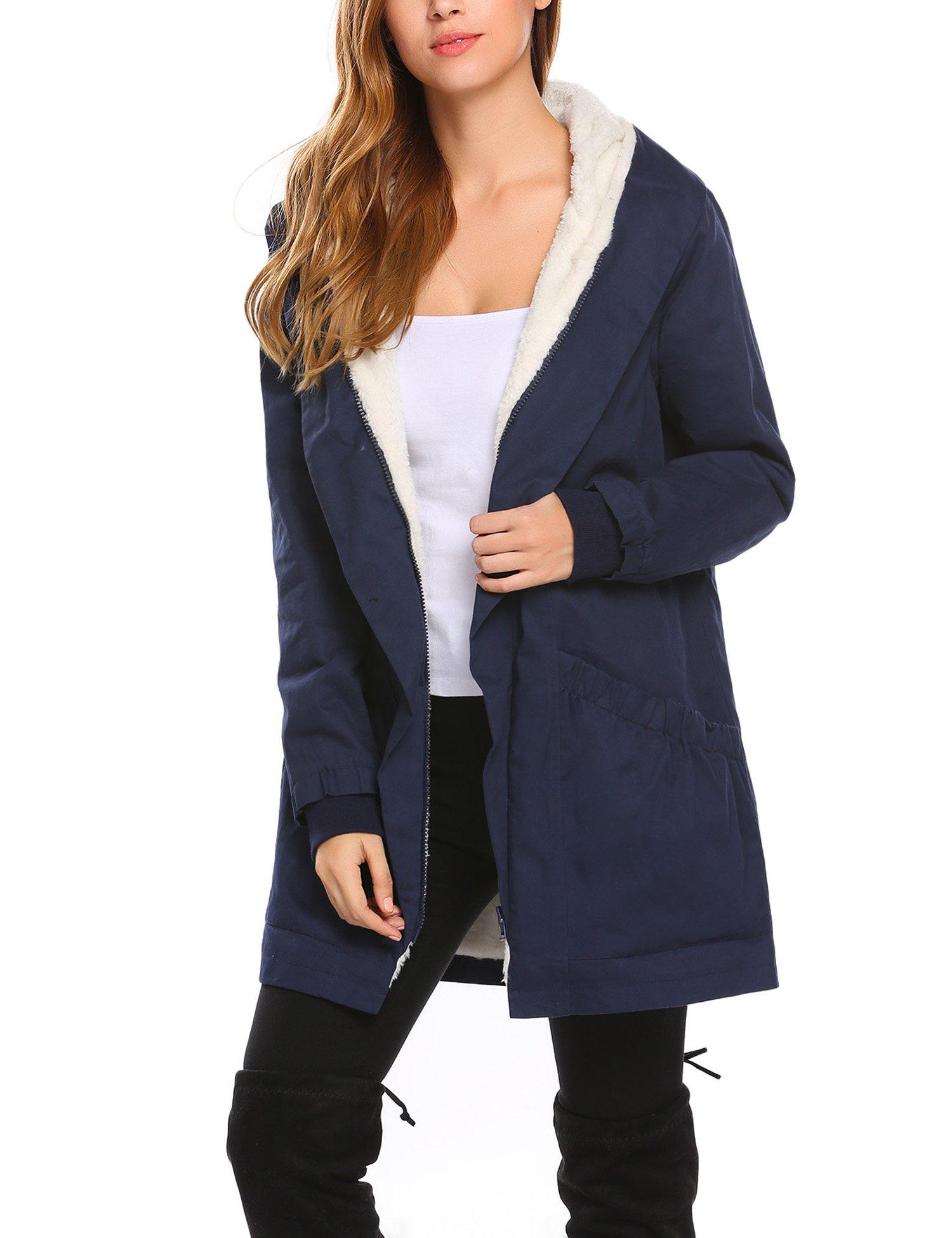 Misakia Womens Parka Jacket Hoodie Sherpa Winter Faux Fur Coat Outdoor (Navy Blue L)