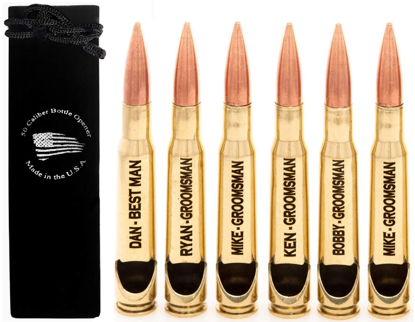 Personalized Engraved 50 Caliber BMG Bottle Opener Real Authentic Polished Brass - Groomsman Set of 6 - Made in the USA (Black Bag)