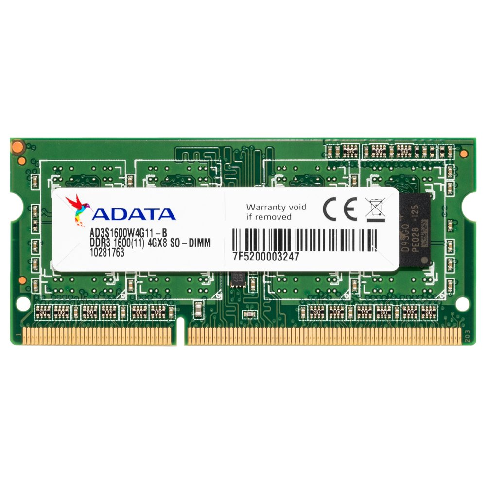 ADATA DDR3, 1600MHz 204-Pin, SO-DIMM, 4GB 4GB DDR3 1600MHz memoria AD3S1600W4G11-R
