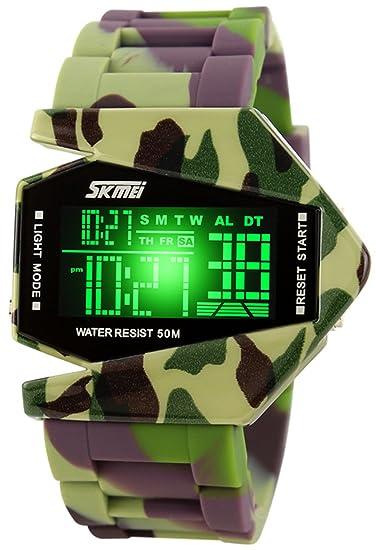 Reloj digital con pantalla LED de colores, correa de silicona, diseño de camuflaje militar: Amazon.es: Relojes