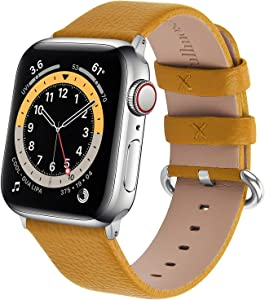 Fullmosa Watchband Compatible for Apple Leather Watch Band 38mm 40mm 42mm 44mm Stainless Steel Silver Buckle Women Men, Replacement Wristbands Strap for iWatch Series 6/SE/5/4/3/2/1, Edition, Sport Straps
