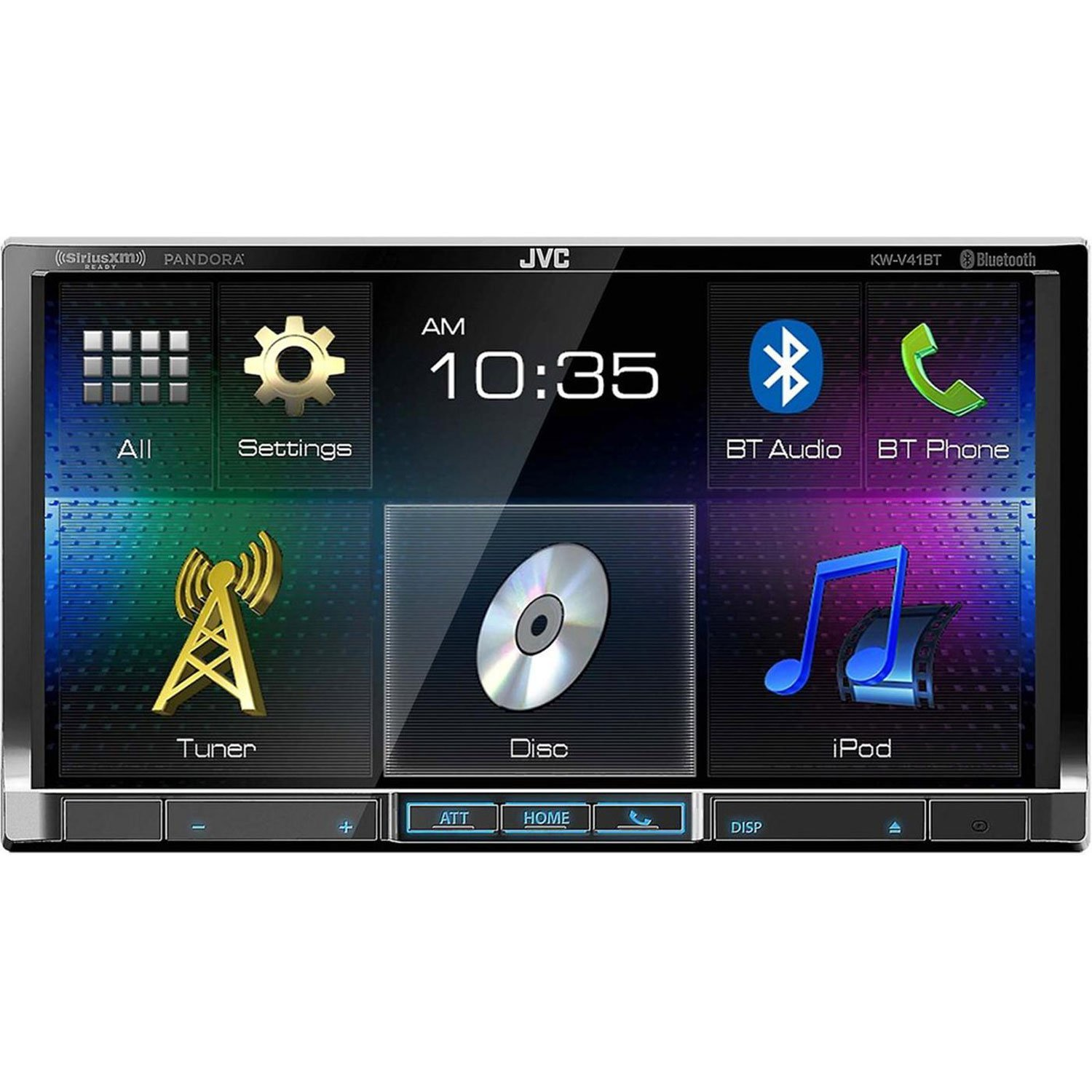 JVC KW-V41BT 2 Din Bluetooth Car DVD Receiver 7'' Monitor w Android/iPhone Apps by JVC