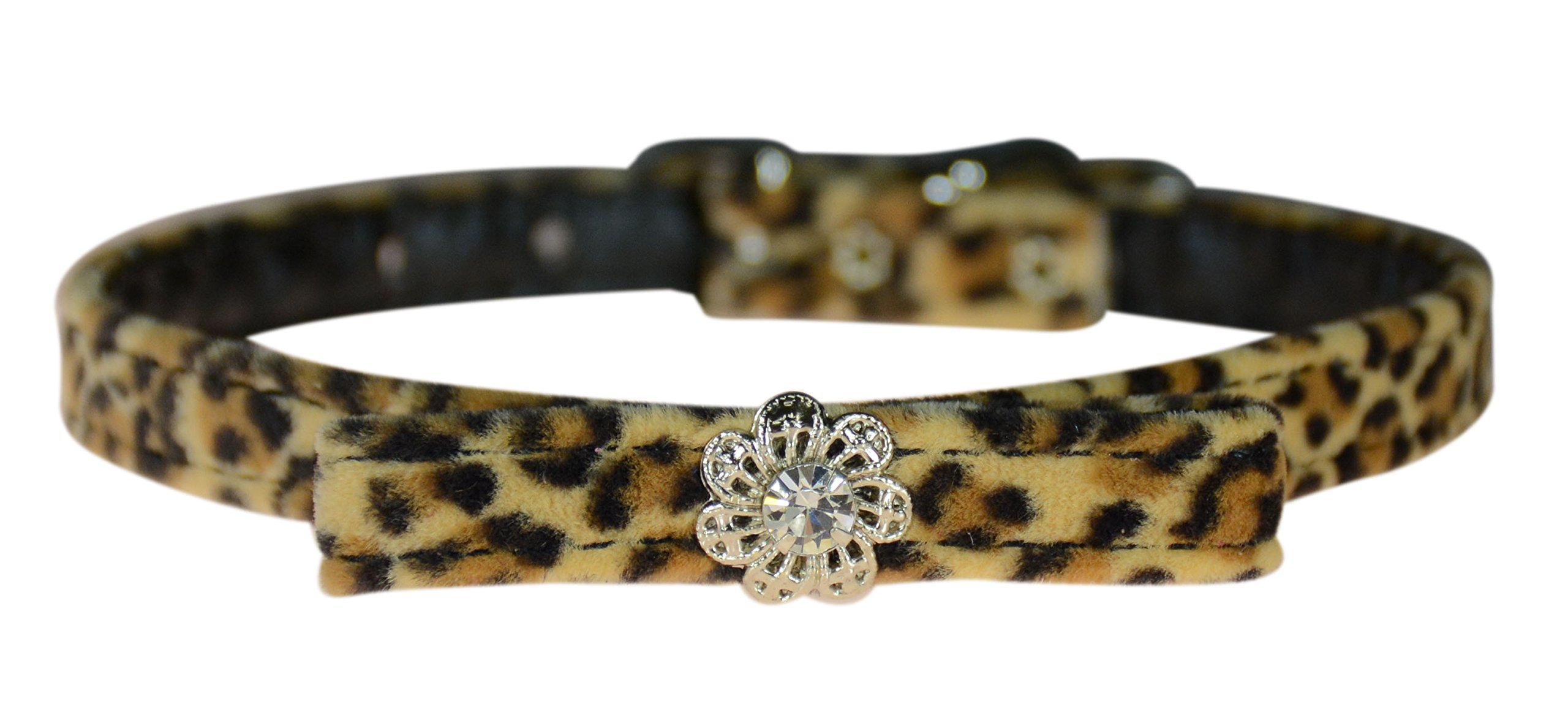 Evans Collars 3/8'' Jeweled and Filigree Collar with Bow, Size 14, Animal Prints, Leopard