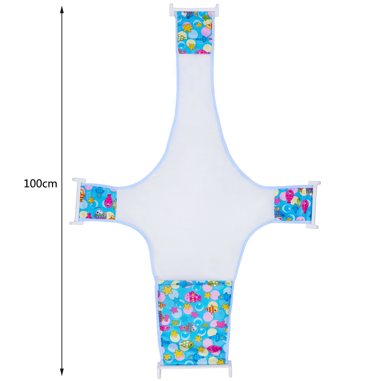 Adjustable Non-slip Baby Bath Seat Sling Comfortable Baby Bath Mesh Accessories Blue Design) Baby Bath Support