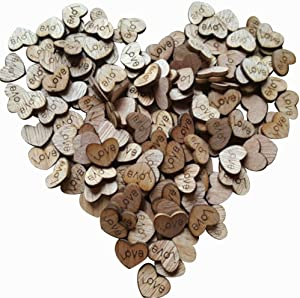 500pcs Rustic Wooden Love Heart Wedding Table Scatter Decoration Crafts(Update Version)