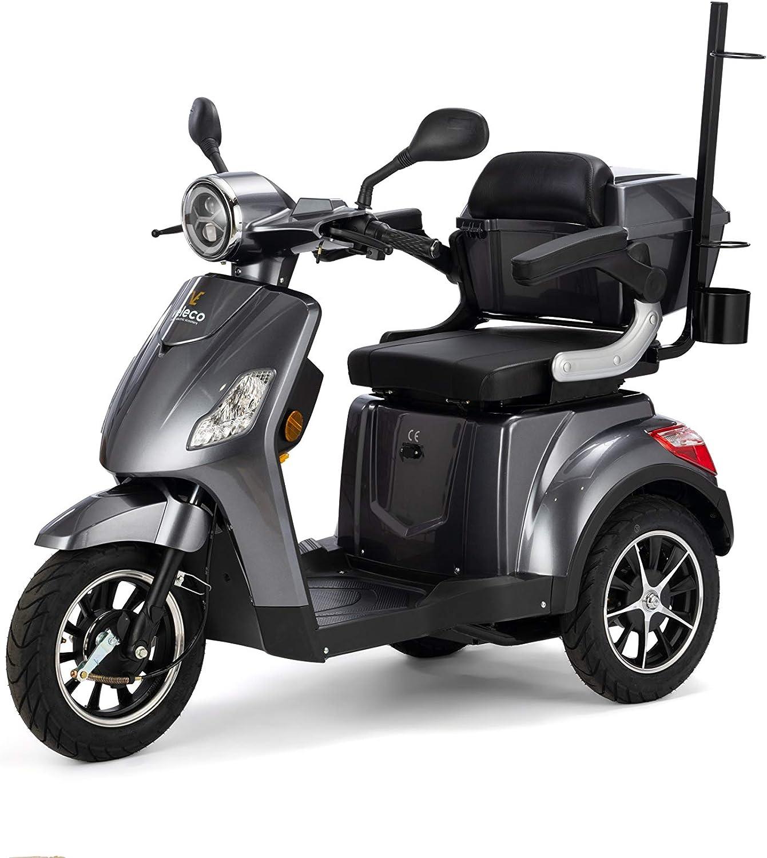 VELECO Scooter Eléctrico de 3 Ruedas Para Personas Mayores Minusvalido DRACO 25km/h (Gris)