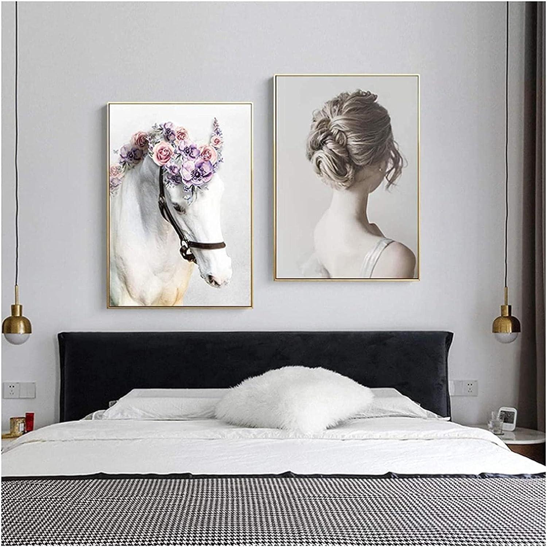SXXRZA Póster de Arte 2 Piezas 50x70cm Sin Marco Arte de Pared Belleza Póster de Lienzo de Plumas para Sala de Estar Decoración del hogar Pintura de Caballo estética Naturaleza Muerta