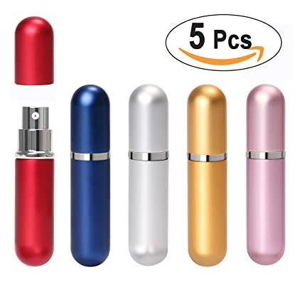 8c85f49cde86 Aookey 5pcs Perfume Atomiser Bottles,Portable Mini Refillable Travel Size  Perfume Scent Aftershave Atomizer Empty Spray Bottle with 2 Funnel Filler,  ...