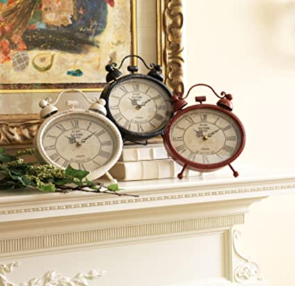 Pack Of 3 Metal And Glass Red, White And Black Traditional Style Tabletop  Clocks 10u0026quot