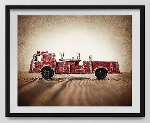 Amazon.com: Vintage Fire Truck Photo Print \