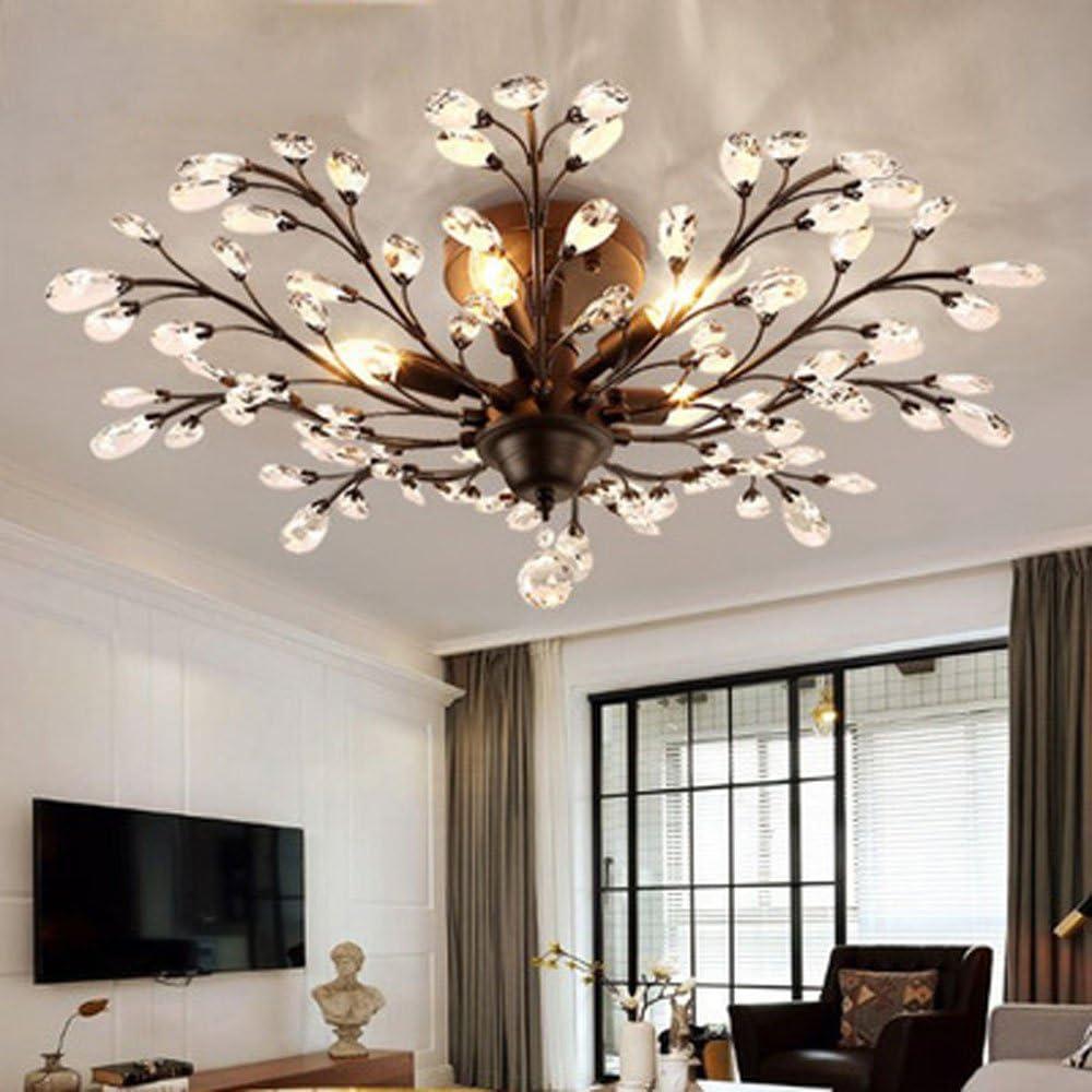 DIY Family®Modern Crystal LED Ceiling Lamp,Leaf Flush Mount Ceiling Light  Fixture Decorative Crystal Chandelier for Dining Room Bedroom Livingroom